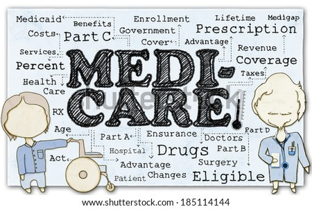 Drawing of Medicare with Stick Men and Clipping Path - stock photo