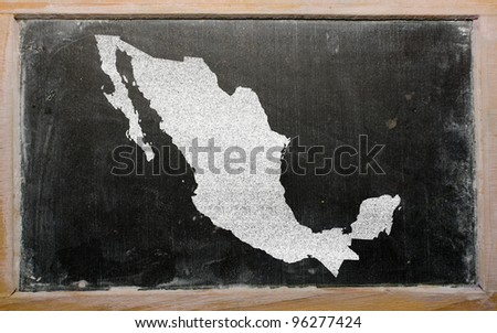 drawing of mexico on blackboard, drawn by chalk - stock photo