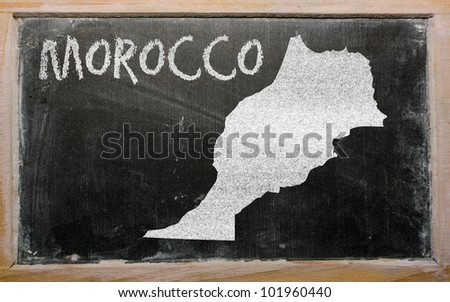 drawing of morocco on blackboard, drawn by chalk