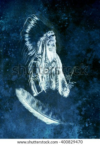 drawing of native american indian foreman Sitting Bull - Totanka Yotanka according historic photography, with beautiful feather headdress, holding rose flower. Computer collage. - stock photo