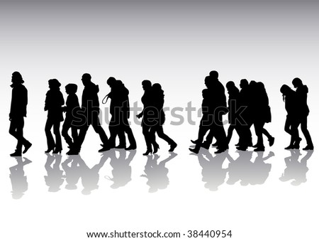 drawing of pedestrians on the street. Silhouettes on white background