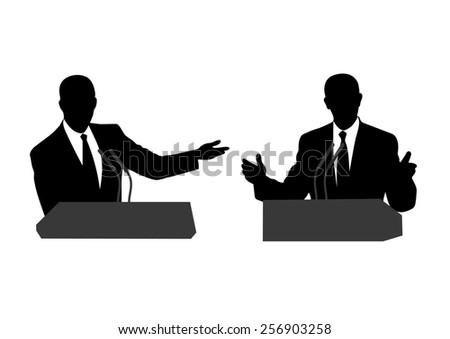 drawing of people before a microphone - stock photo