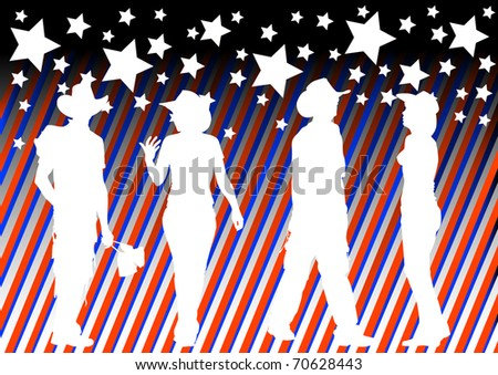 drawing of people in cowboy hats. Silhouettes on color background