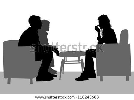 drawing of people talking in their seats - stock photo