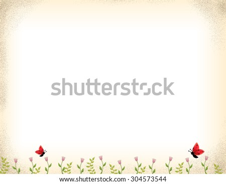 drawing of pink flowers growing with red butterfly over grunge background. Love, growth, green, organic, hope, life, summer, spring idea background template. - stock photo