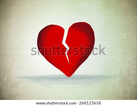 drawing of red cracked broken heart shape. Love, heart break, sad, grief, romantic, separation, divorce, couple, care, emotion, hurt feeling, jealousy idea background template - stock photo