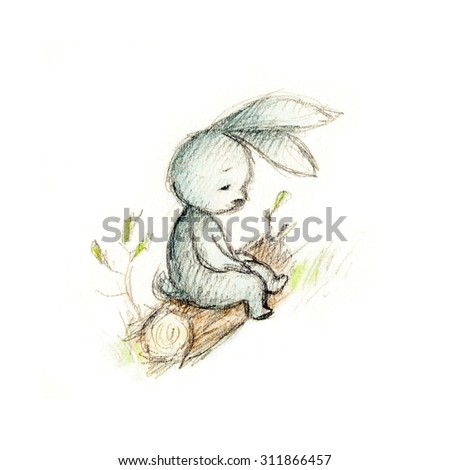drawing of sad bunny sitting on the log