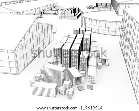Drawing of small plant with warehouse and loading docks - manufacturing and cargo industry