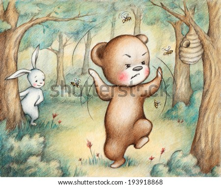 Drawing of Teddy Bear fighting with bees - stock photo