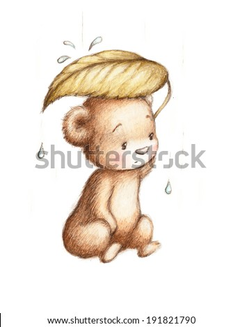 Drawing of Teddy Bear Hiding from the Rain under a Big Green Leaf  - stock photo