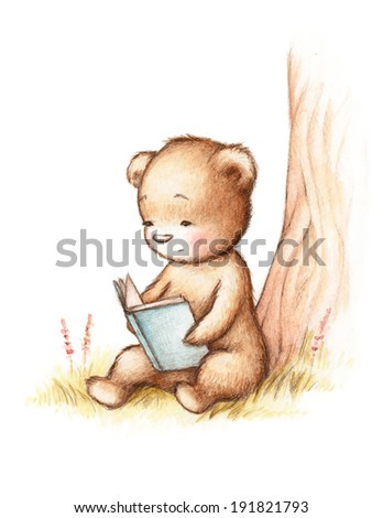 Drawing of Teddy Bear Reading a Book under Tree