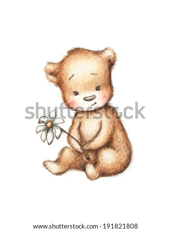 Drawing of Teddy Bear with Daisy - stock photo