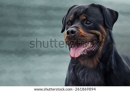 Drawing of the dog rottweiler, tricolor, portrait, on a color background