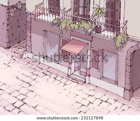 Drawing of the European street. - stock photo
