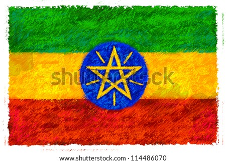 Drawing of the flag of Ethiopia