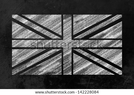 Drawing of the uk flag on a blackboard - stock photo