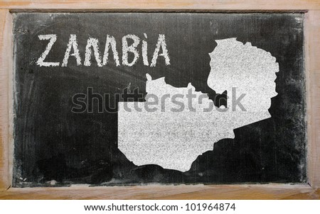 drawing of zambia on blackboard, drawn by chalk - stock photo