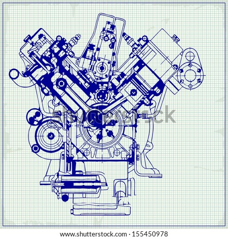Drawing old engine on graph paper. Raster version. The original is also available in my gallery - stock photo