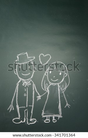 drawing on the chalkboard husband and wife in love - stock photo