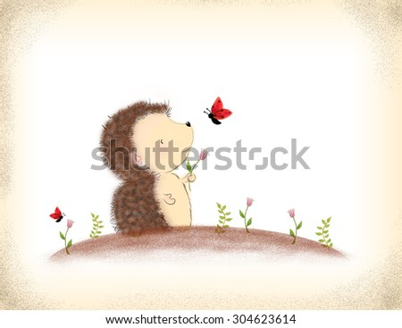 drawing or illustration of cartoon porcupine holding pink flower with flying butterfly over grunge background. Idea for valentine, love, birthday card, nature template background design - stock photo