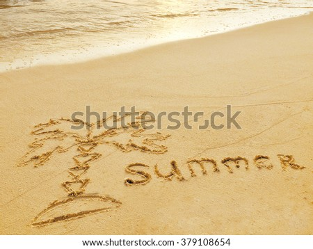 """Drawing """"Palm-tree"""" in the sand on a tropical island,  Maldives. - stock photo"""