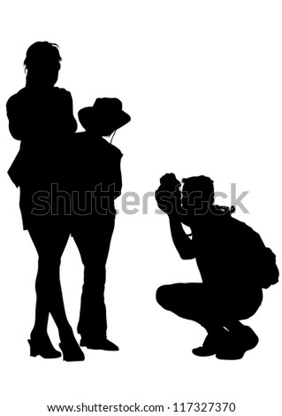 drawing parents and child - stock photo
