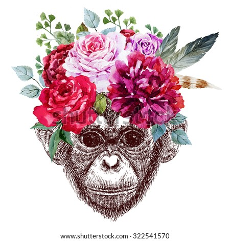 Drawing pen monkey face, macaque portrait with beautiful flowers on the head, floral wreath, the symbol of 2016, - stock photo
