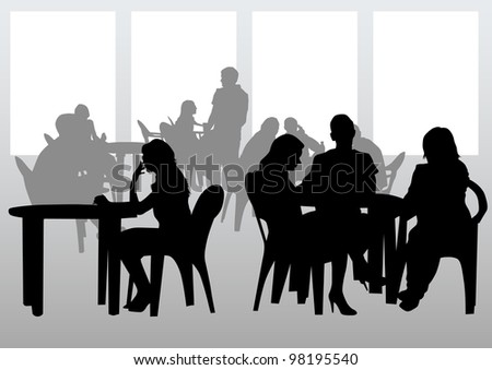 drawing people in cafes. Silhouettes of people in urban life - stock photo