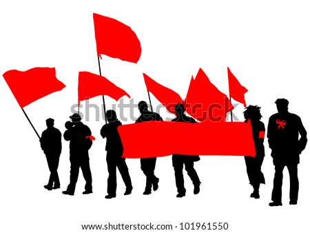 drawing people with red banner - stock photo