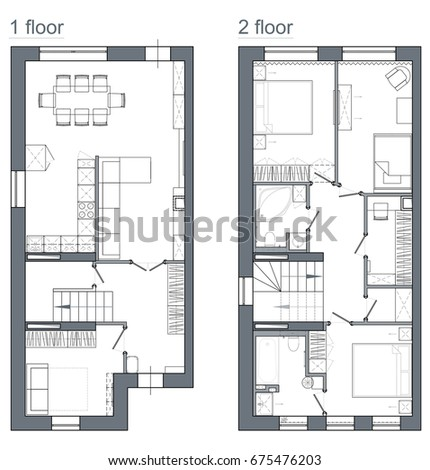Drawing Plan Two Story Apartment Stock Illustration 675476203 ...