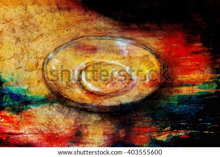Drawing plate on paper. Original hand draw. - stock photo