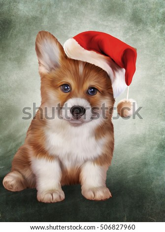 Drawing puppy breed Welsh Corgi, portrait in red hat of Santa Claus. Christmas and New Year
