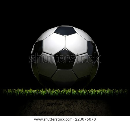 Drawing realistic soccer ball standing on field - stock photo