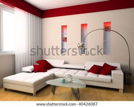 Drawing room with a sofa and a window 3d image