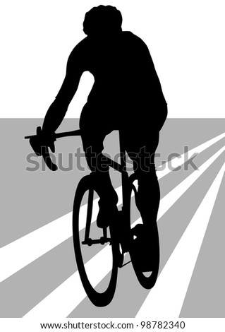 drawing silhouette of a cyclist boy. Silhouette of people