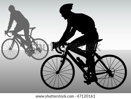 drawing silhouettes cyclists in competition