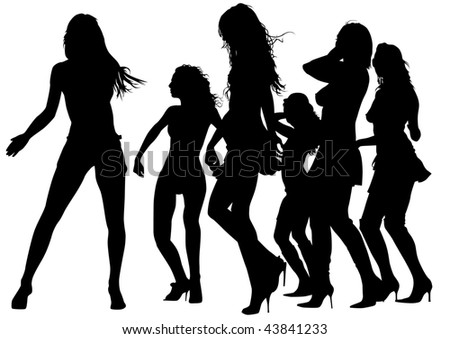 drawing silhouettes of dancing girls in a nightclub