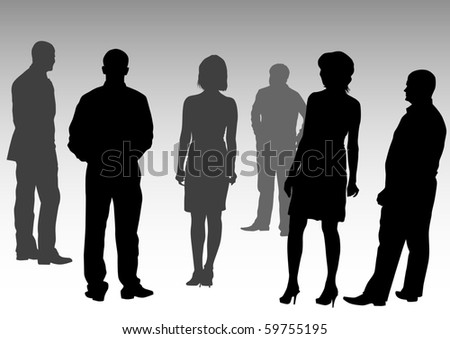drawing silhouettes of people business