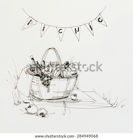 Drawing sketch ink of Wattled Picnic Basket with Food. Freehand Illustration. Invitation for Party - stock photo