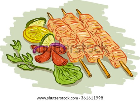 Drawing sketch style illustration of chicken kebabs skewers with vegetables, coriander, lemon, leaf, cucumber on isolated white background. - stock photo