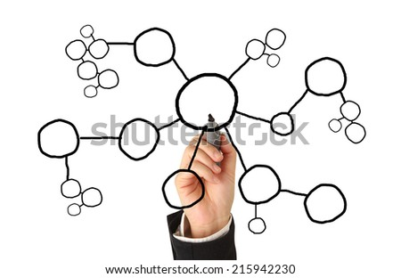 Drawing Social Network  Structure - stock photo