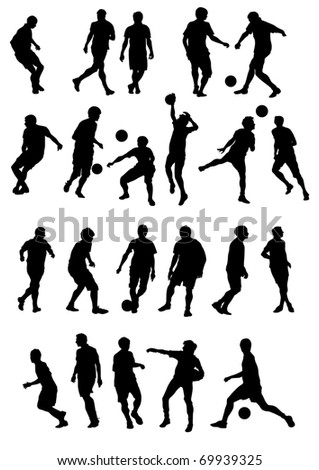 drawing sports football team. Silhouettes on white background
