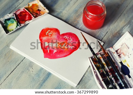 Drawing st Valentine's day greeting card - stock photo