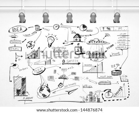 drawing strategy success on a white wall - stock photo