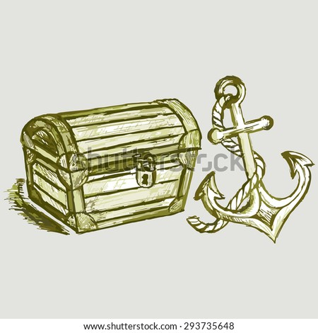 Vintage Wooden Chest Isolated On Blue Stock Vector ...