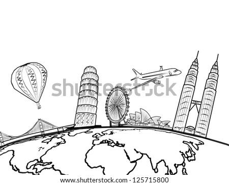 drawing the dream travel around the world - stock photo