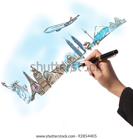 drawing the dream travel around the world in a whiteboard - stock photo