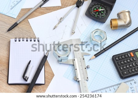 drawing tools project concept - stock photo
