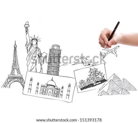 Drawing travel around the world (Japan,France,Italy,New York,India,egypt) - stock photo