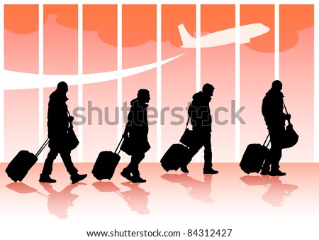 drawing travelers with suitcases - stock photo